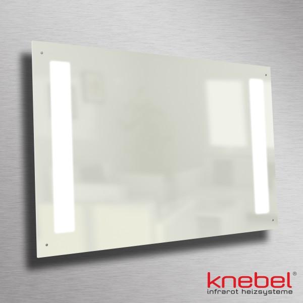 Edles Design, spart Energie, gibt gesunde Wärme und angenehmes LED-Licht ab - die Infrarotheizung aus weißem Carboglas mit integrierter Beleuchtung