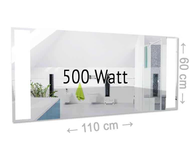 led spiegel infrarotheizung 500 watt ohne rahmen. Black Bedroom Furniture Sets. Home Design Ideas