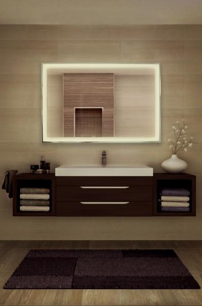 Spiegel - Infrarotheizung mit einem umlaufenden Rahmen aus Chrom und LED-Beleuchtung. Heizung und Beleuchtung sind unabhängig von einander schaltbar