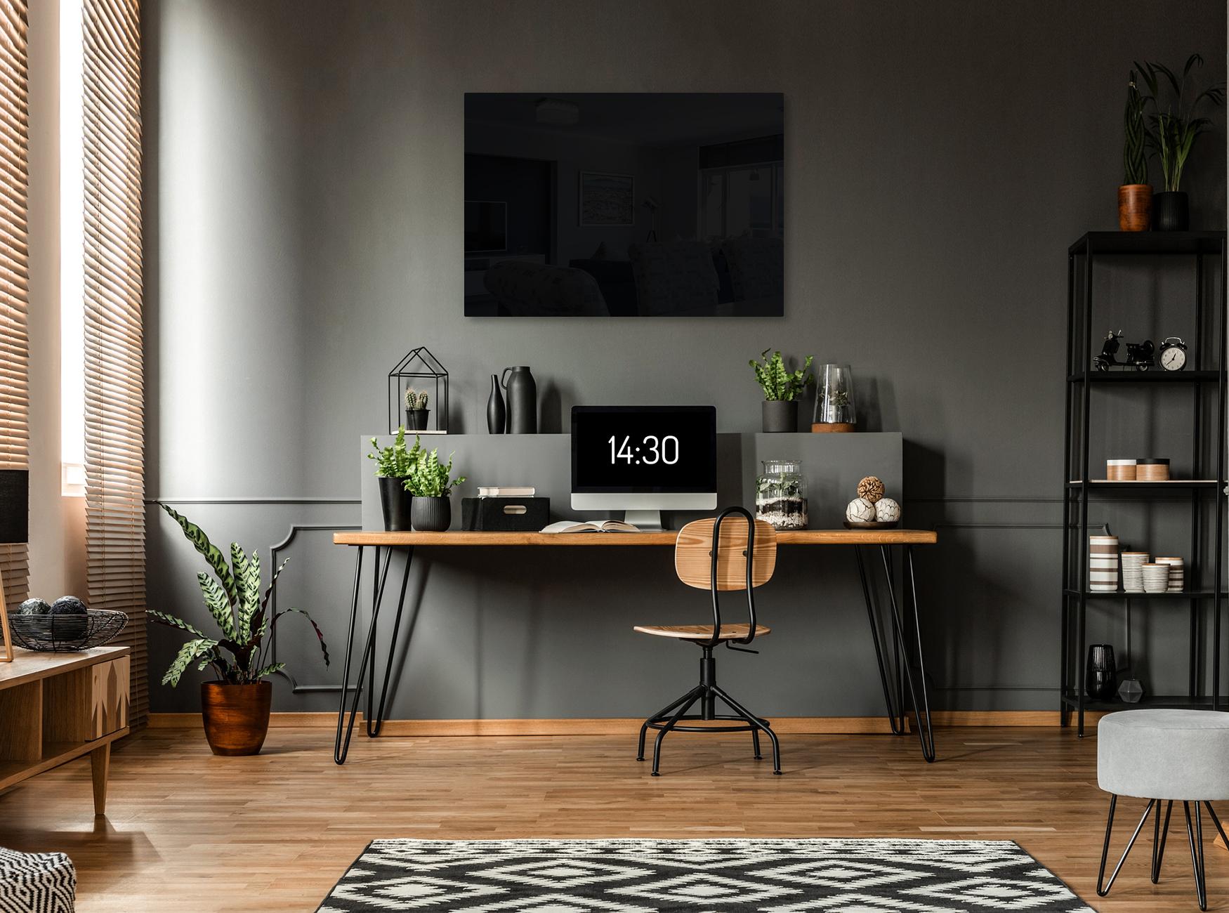 Infrarotheizung mit Carboglas im Arbeitszimmer