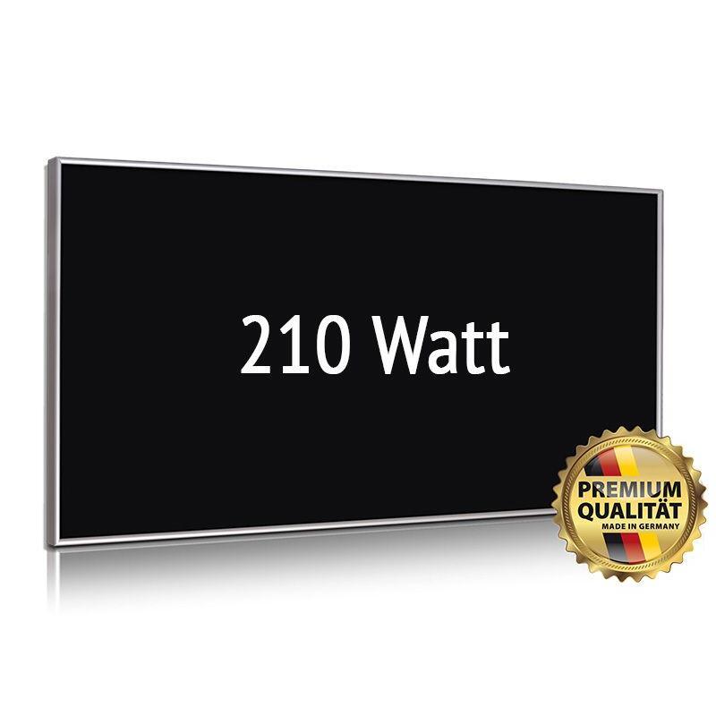 Infrarot Glasheizung, schwarz, Alurahmen, 210 Watt