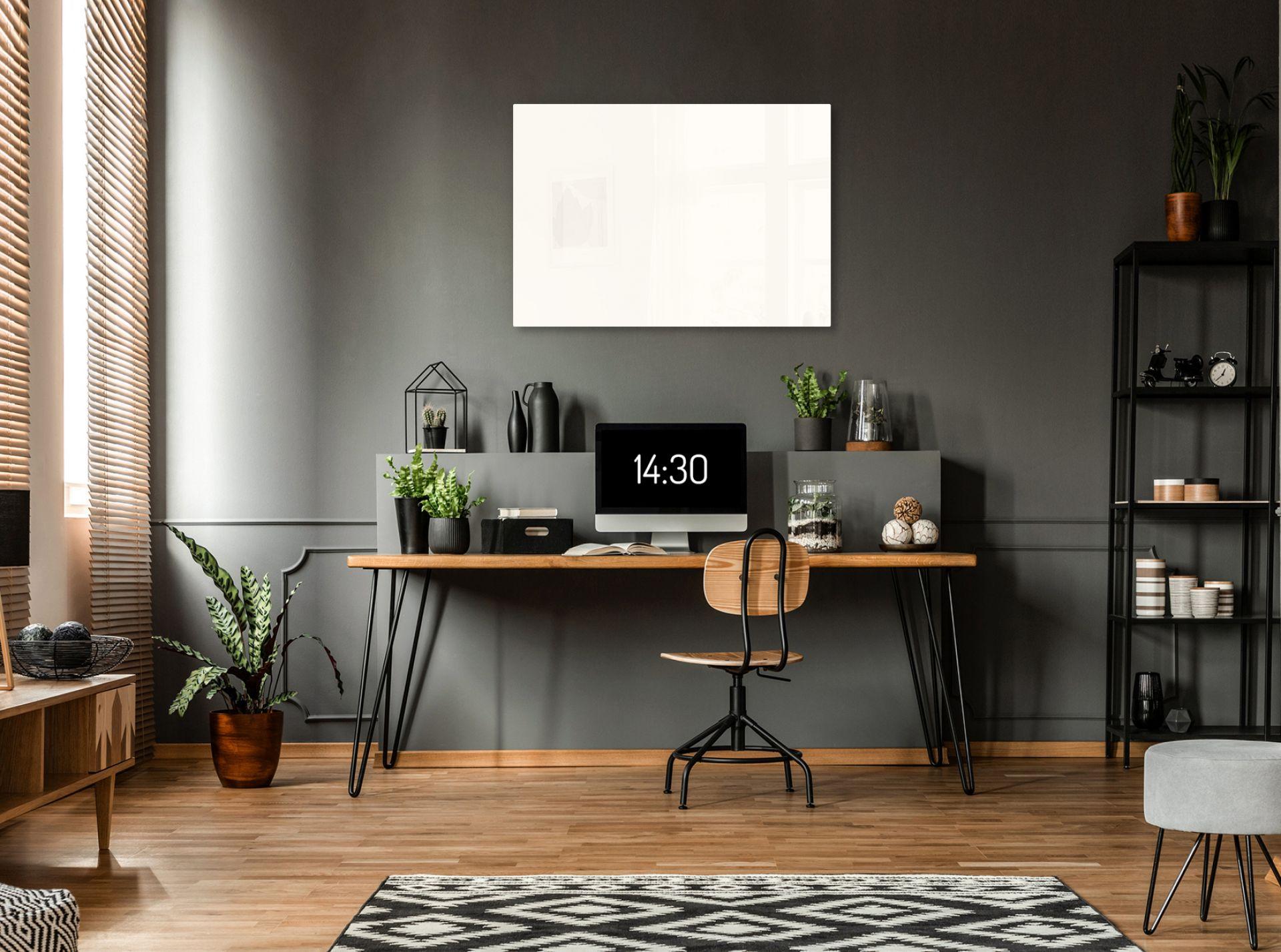 Infrarot Glasheizung ohne Außenrahmen, weiß, im Arbeitsraum, Anwendung 1