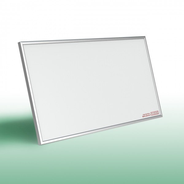 Infrarotheizung mit Alurahmen und mit weißer, glatter Oberfläche