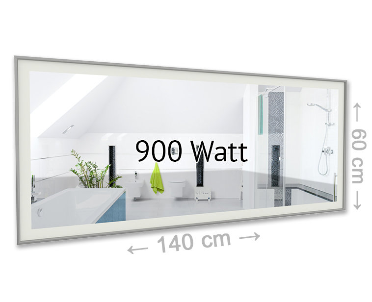 led spiegel infrarotheizung 900 watt effektiv g nstig und modern heizen. Black Bedroom Furniture Sets. Home Design Ideas