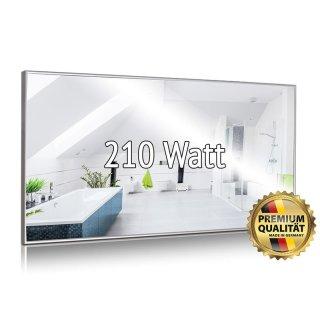 Spiegelheizung Nomix - 210 Watt | 40x60 cm | Infrarotheizung mit Alurahmen