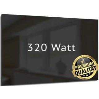 Infrarotheizung Nomix Glas Black - 320 Watt | 35x120cm | Glasheizung mit Rahmen