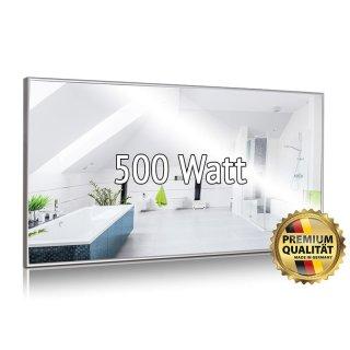 Spiegelheizung Nomix - 500 Watt   40x130cm   Infrarotheizung mit Alurahmen